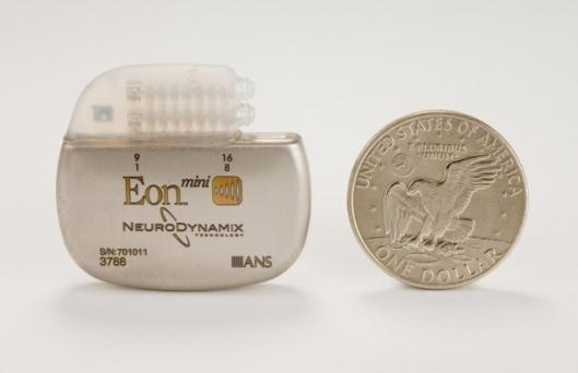 The Eon Mini Spinal Cord Stimulator is roughly the same size as a silver dollar