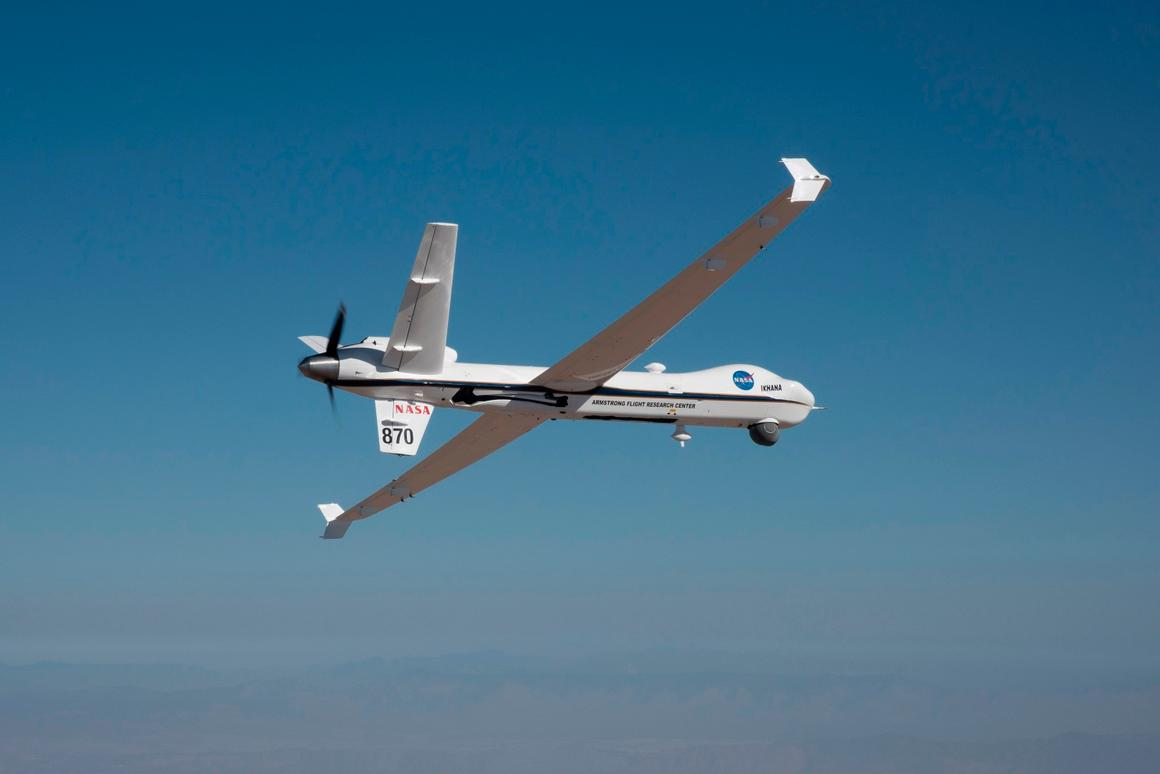 NASA's remotely-piloted Ikhana aircraft, based at the agency's Armstrong Flight Research Center, is flown in preparation for its first mission in public airspace without a safety chase aircraft