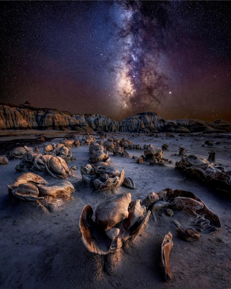 Alien Eggs, shot in the Badlands of New Mexico, USA. With rock formations that look like a clutch of eerie eggs, it's easy to feel like you're on another planet.