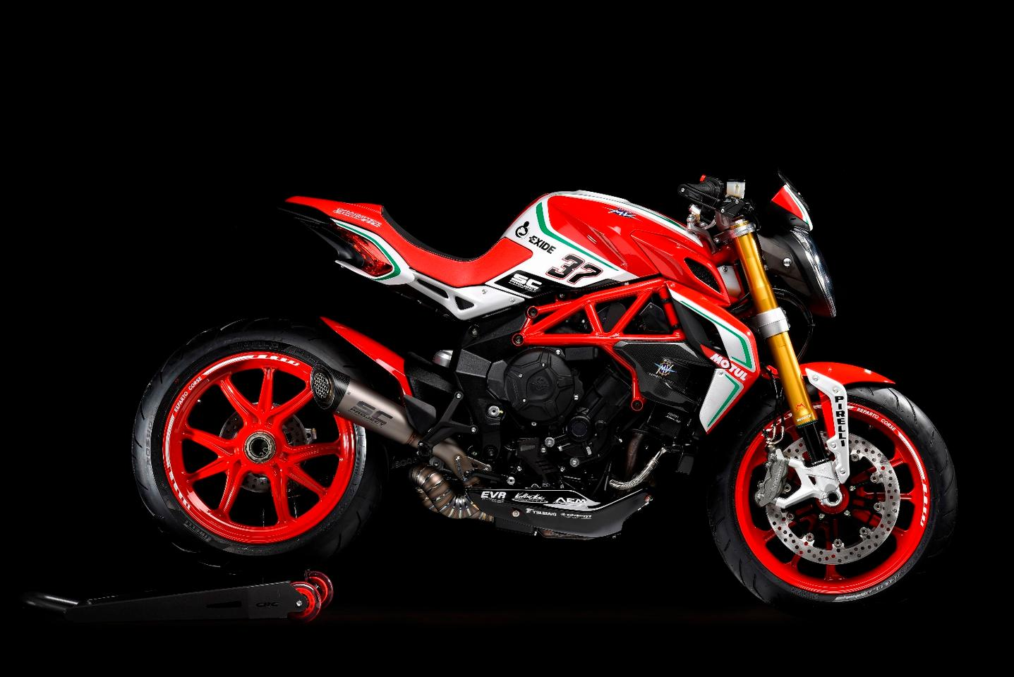 With the SC Project exhaust system and appropriate ECU kit, the 2018 MV Agusta Dragster 800 RC outputs 150 hp (112 kW)