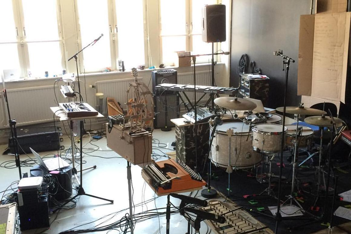 The mechanical music machine takes its place in the rehearsal room, along with other bizarre Molin creations