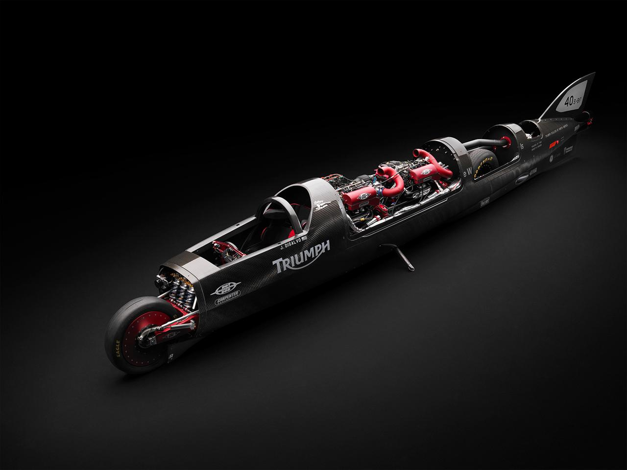 The Castrol Rocket features two turbocharged Triumph Rocket III engines producing a combined 1,000+ hp
