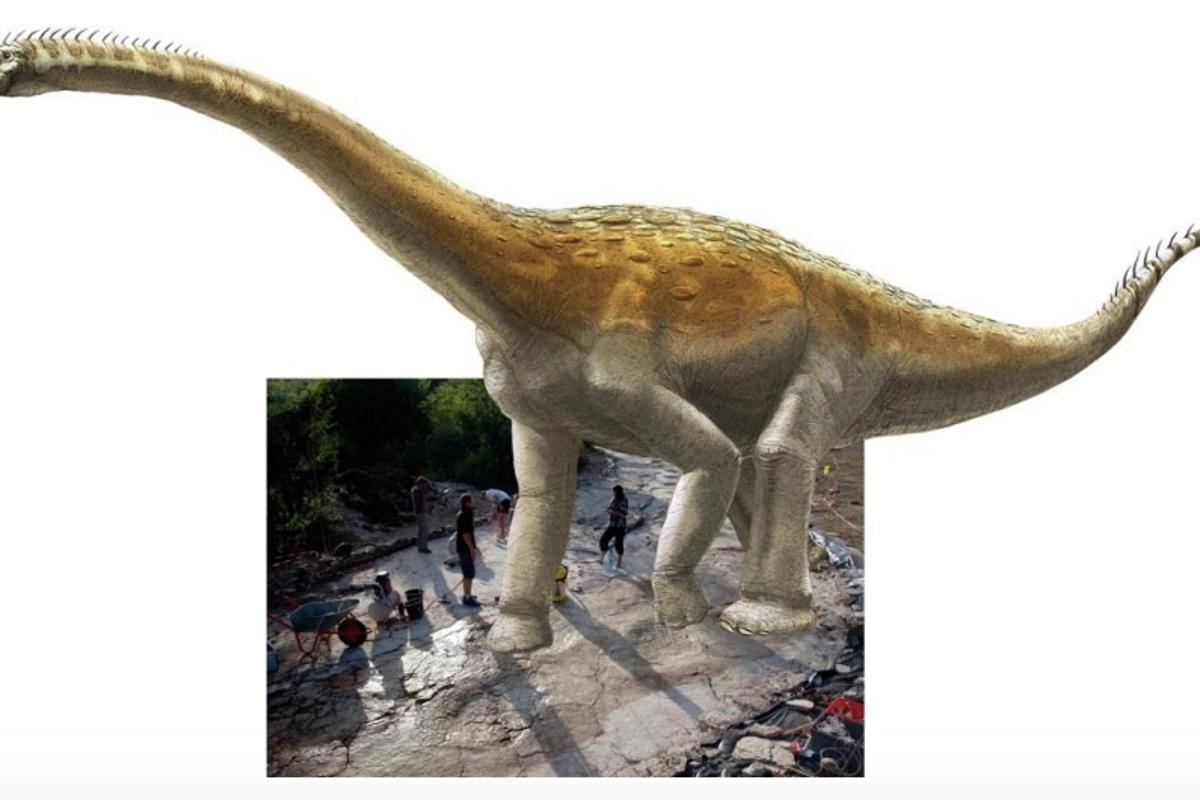 Artist's impression of the Plagne sauropod,superimposed on its tracks