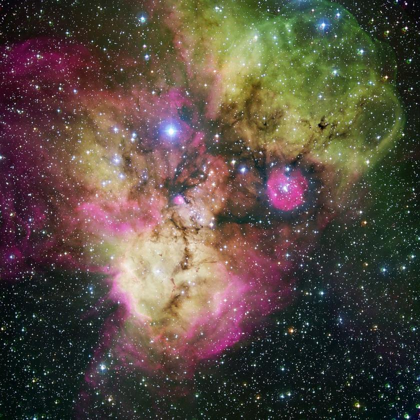 Full view of the Skull and Bones Nebula captured by the MPG/ESO 2.2-meter telescope in 2005. The newly imaged section can be seen at the bottom of the image, forming the pirate's gaping mouth