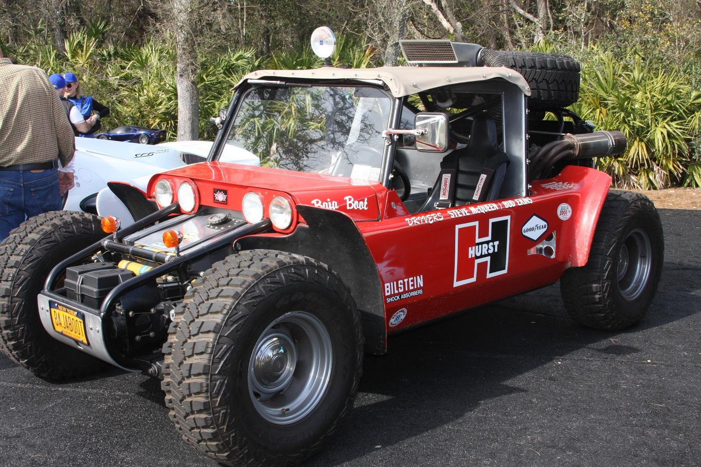 History in the flesh. This car was built for the1967National Off-Road Racing Association's 849-mile race dubbed the Mexican 1000. The race would go down in history as the first Baja 1000. Built by Vic Hickey with help fromGM, this purpose-built racing buggyused a 450-hp 350 cubic-inch V8 and GM Hydra-Matic auto,4-wheel discs, front and rear independent Torsion Bar Suspension and only got around 25 percentof the distance. Thenactor/racer Steve McQueen and Bud Ekins bought it and raced it and two years later, it won.The car was purchased two years ago at Pebble Beach by film director/car aficianadoJames Glickenhaus (Scuderia Cameron Glickenhaus) who made it street legal. Nice wheels, Mr Glickenhaus!!!