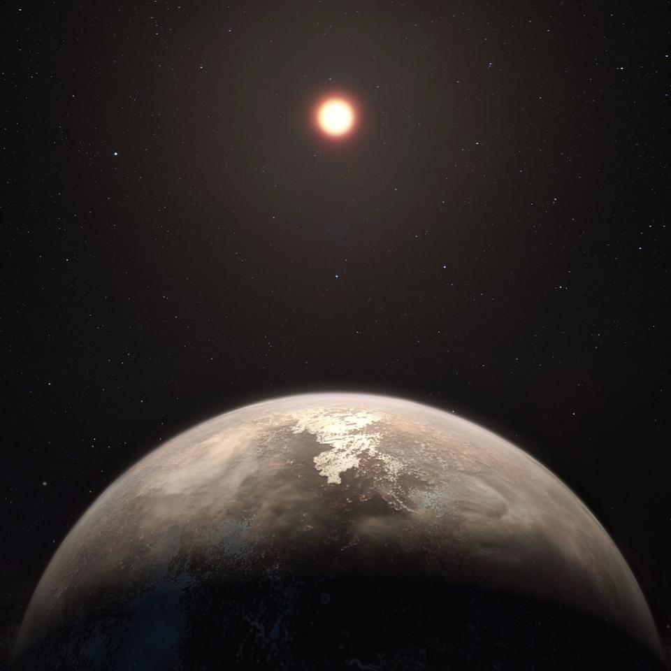 Artist's impression of Ross 128 b, whichwas discovered orbiting a red dwarf star – the most common type of stellar body in the universe