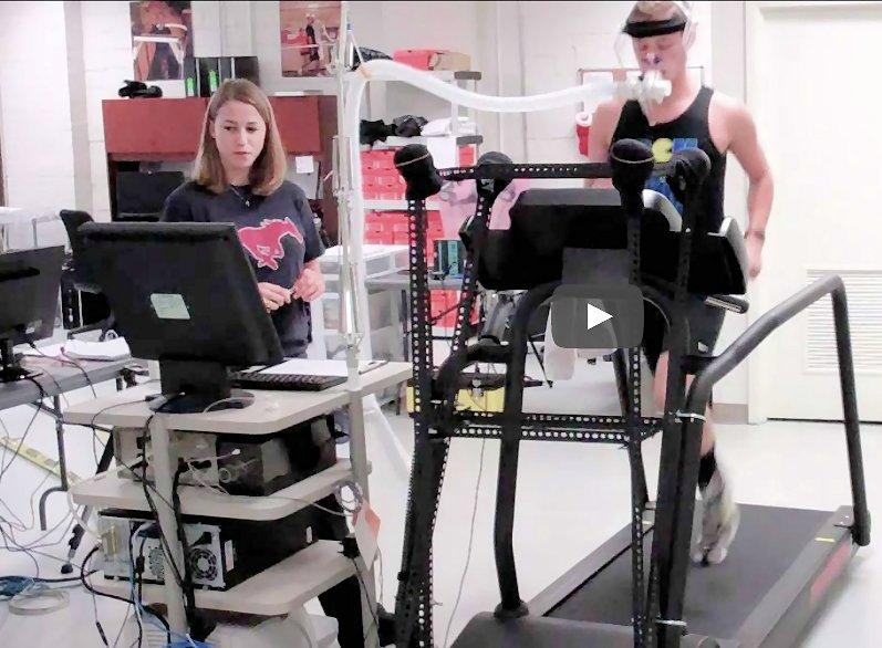 A discontinuous VO2max test taking place at the SMU Locomotor Performance Laboratory (Photo: SMU)