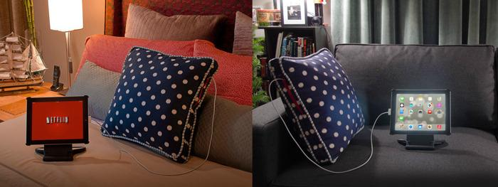 The Power Pillow can be used to charge mobile devices such as smartphones and tablets