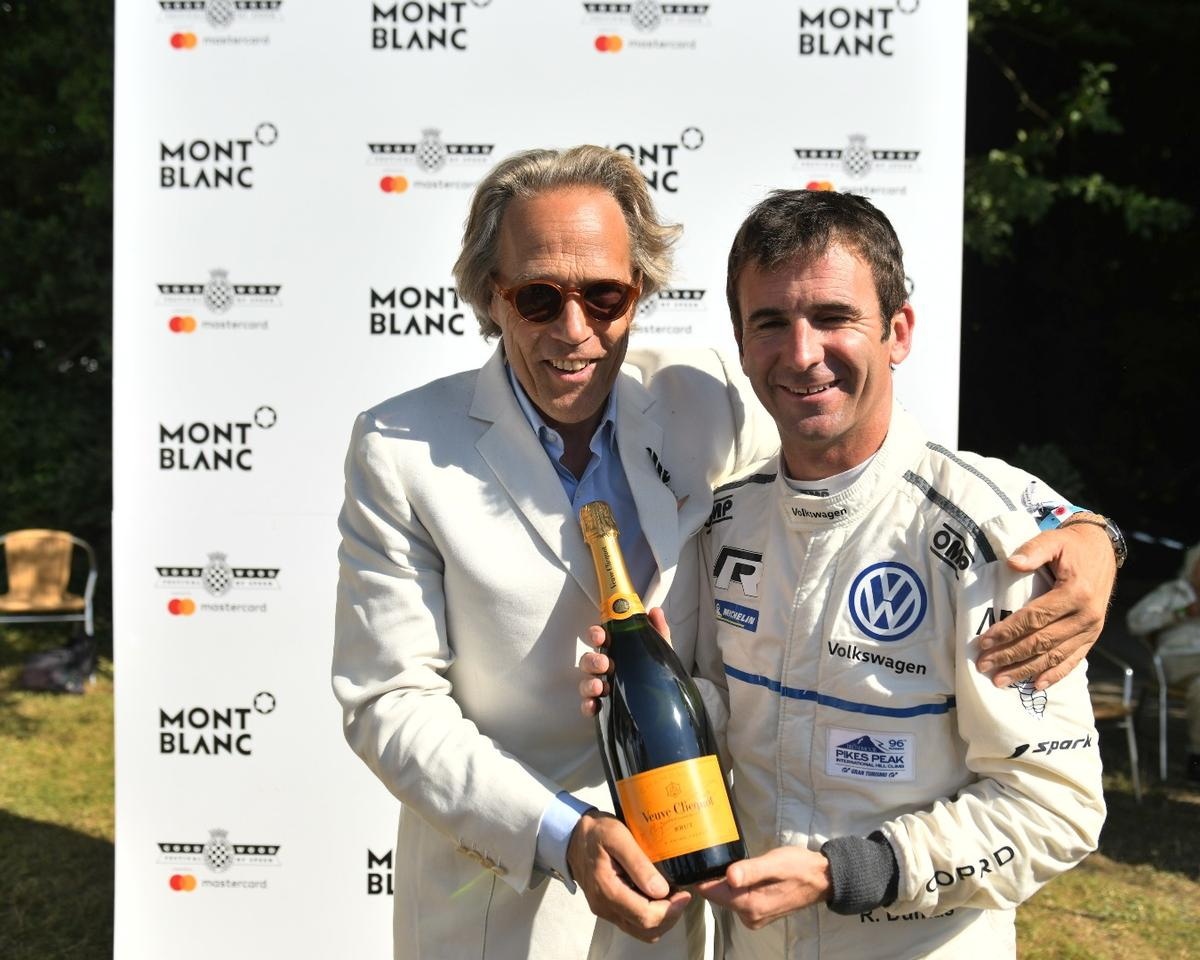 Romain Dumas managed a time of 43.86 seconds aboard the four-wheel-drive Volkswagen I.D R Pikes Peak during the hill climb at the 2018 Goodwood Festival of Speed, the third fastest in the event's history