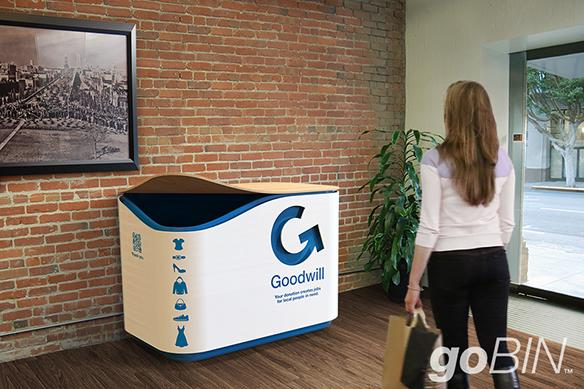Donors scan the GoBin's QR code to receive a donation tax receipt via email (Photo: SFGoodwill)