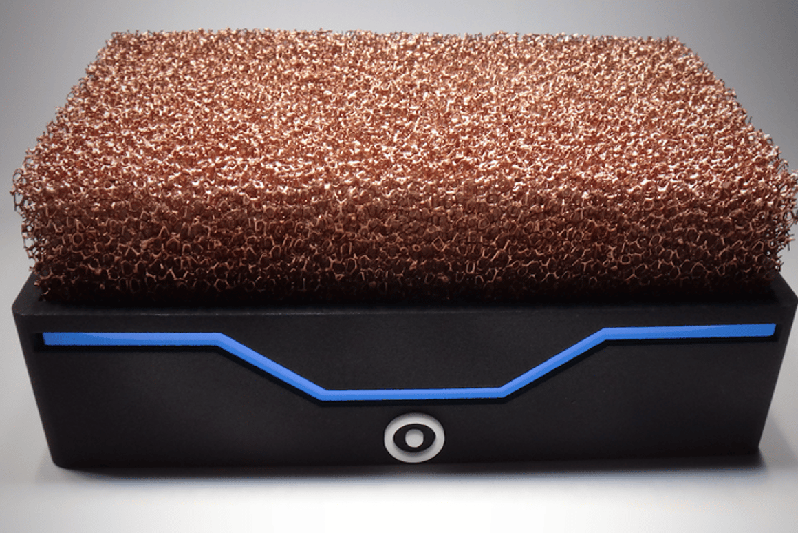 The Silent Power PC uses an open-air metal foam heatsink for passive cooling