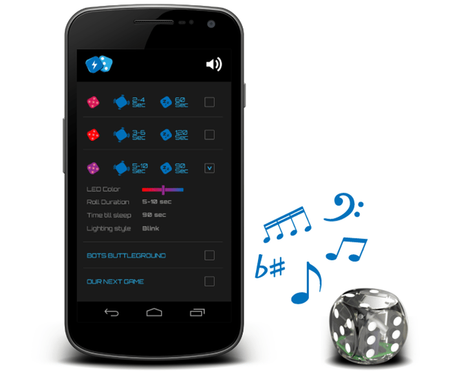 Boogie Dice are programmed through sound via the mobile companion app or website