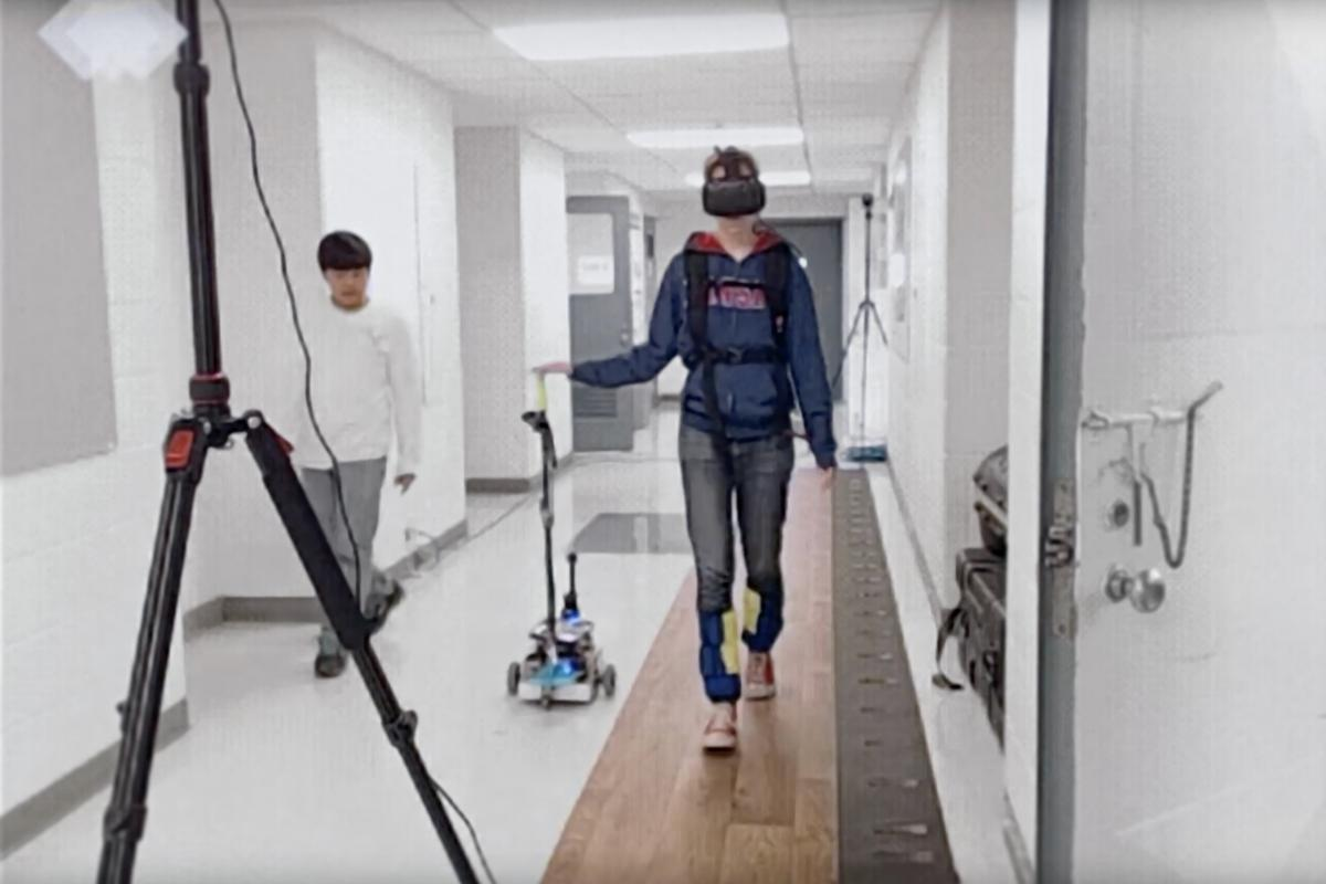 Test subjects wore a virtual reality headset which interfered with their gait