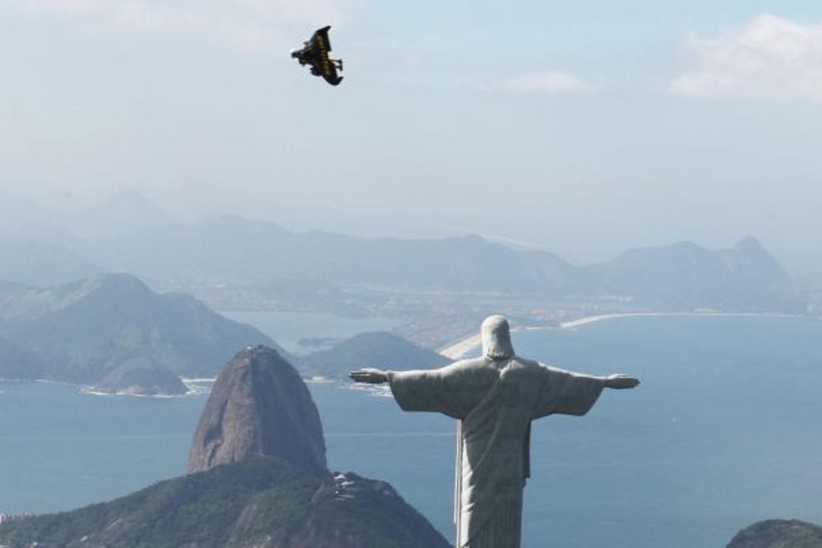 A bird? A plane? A Jetman. (Copyright: Bruno Brokken/Breitling SA, photo via AP Images)
