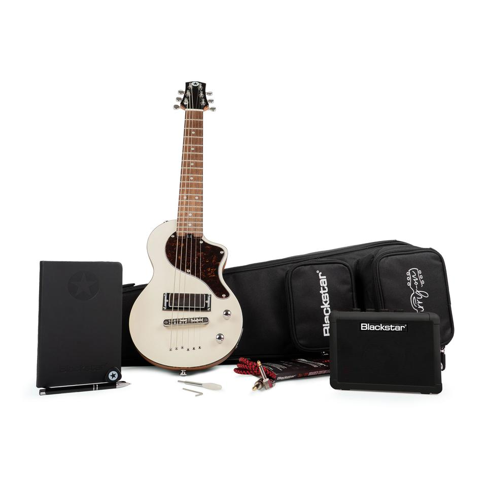 The Deluxe option comes with a Fly 3 Bluetooth mini guitar amp, braided cable, strap, picks, notebook and pencil, an gig bag