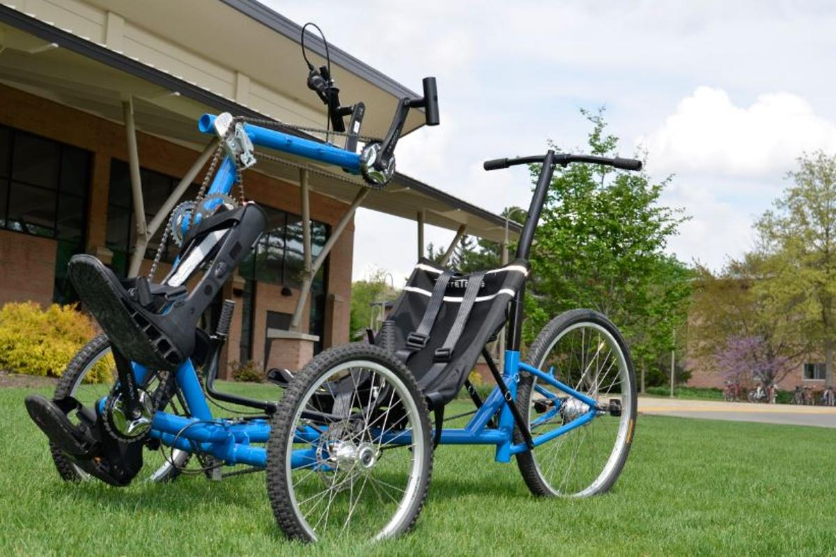 The TheraTryke offers upper and lower body exercise in a fun mobility device for paraplegics