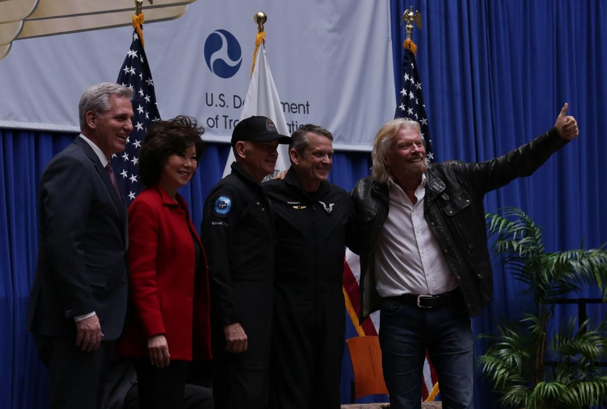 Virgin Galactic Pilots, Richard Branson and Elaine L. Chao