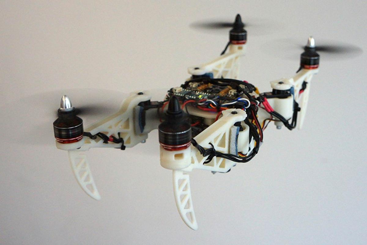 The foldable drone takes on an H-shaped propeller arm configuration, allowing it to fit through narrow openings