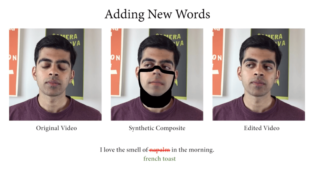 New deepfake software lets you add, edit or delete words from the transcript of a video, and the changes are reflected seamlessly in the video