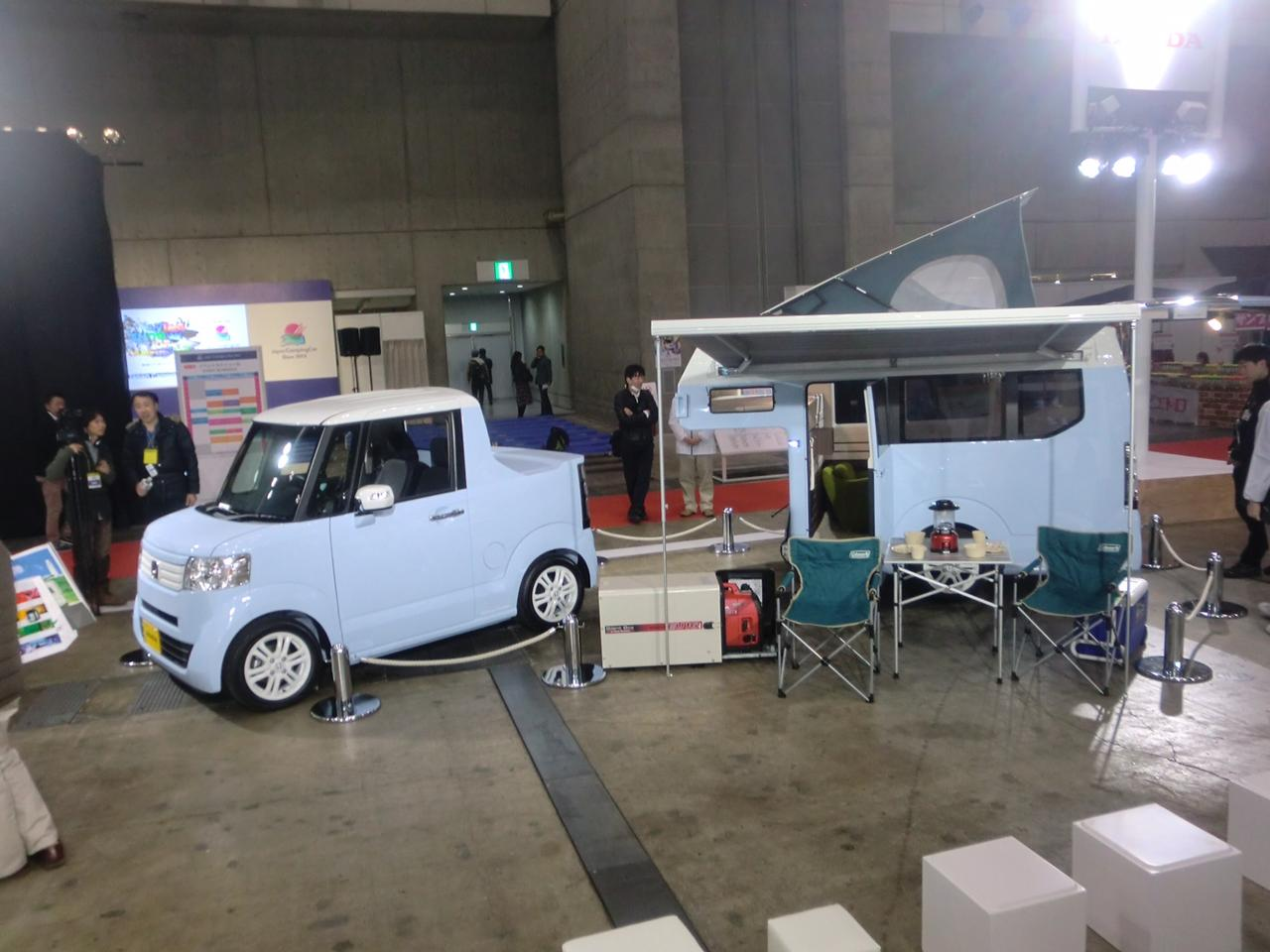 Kei campers can be tow behinds like this image. Image of a micro truck and camper.