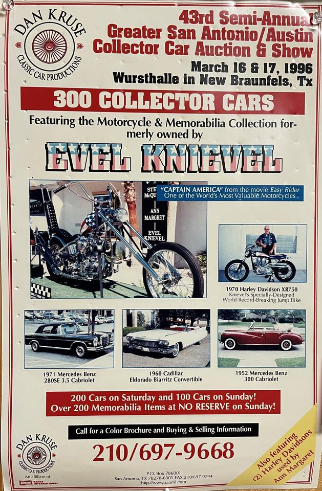The poster from the 1996 auction of the Captain America chopper.