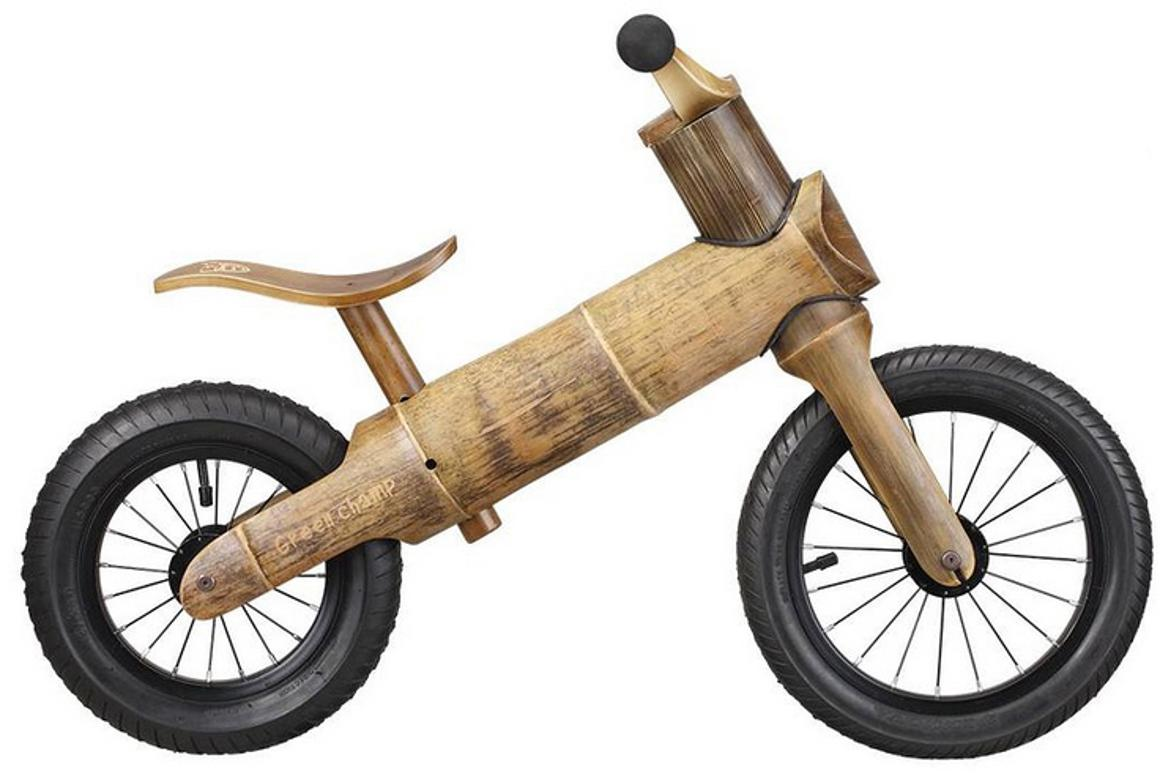 The GreenChamp Bike is a balance bike made from environmentally sustainable bamboo
