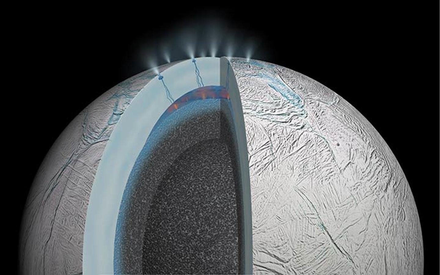 Artist's view of the interior of Enceladus (Image: NASA/JPL)