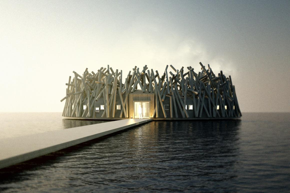 Because of the local climate, the Arctic Bath hotel will float freely on the surface in the summer, and then be frozen in place in the winter