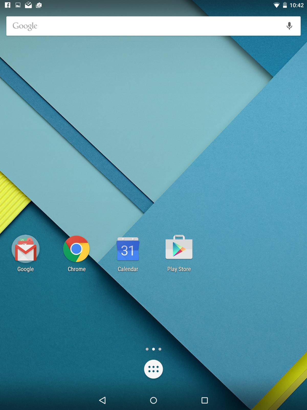 The default home screen on the Nexus 9
