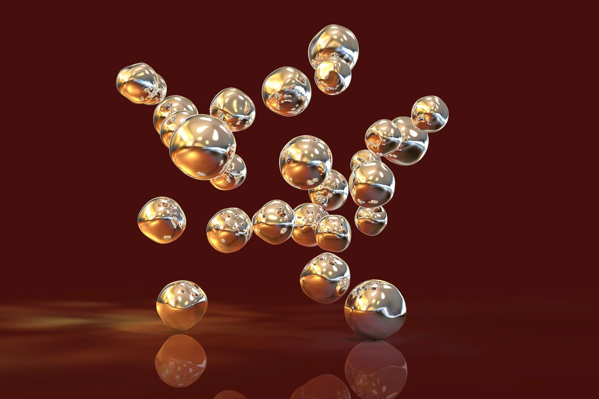 Artist's impression of gold nanoparticles, a promising tool in the fight against cancer