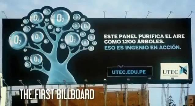 UTEC's billboard filters 100,000 cubic meters of air every day, benefiting residents in a 5-block radius (Credit: UTEC)