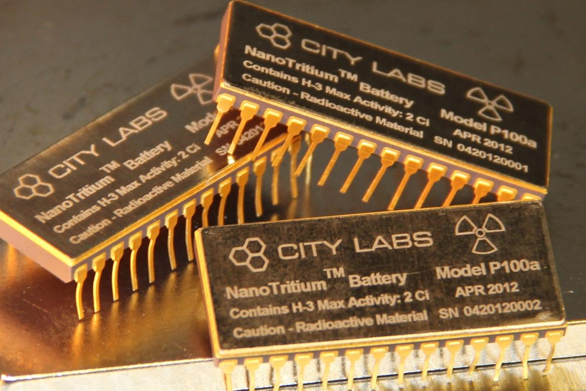 The NanoTritium betavoltaic power source from City Labs is a thumb-sized battery that draws on the energy released from its radioactive element to provide continuous nanoWatt power for over 20 years