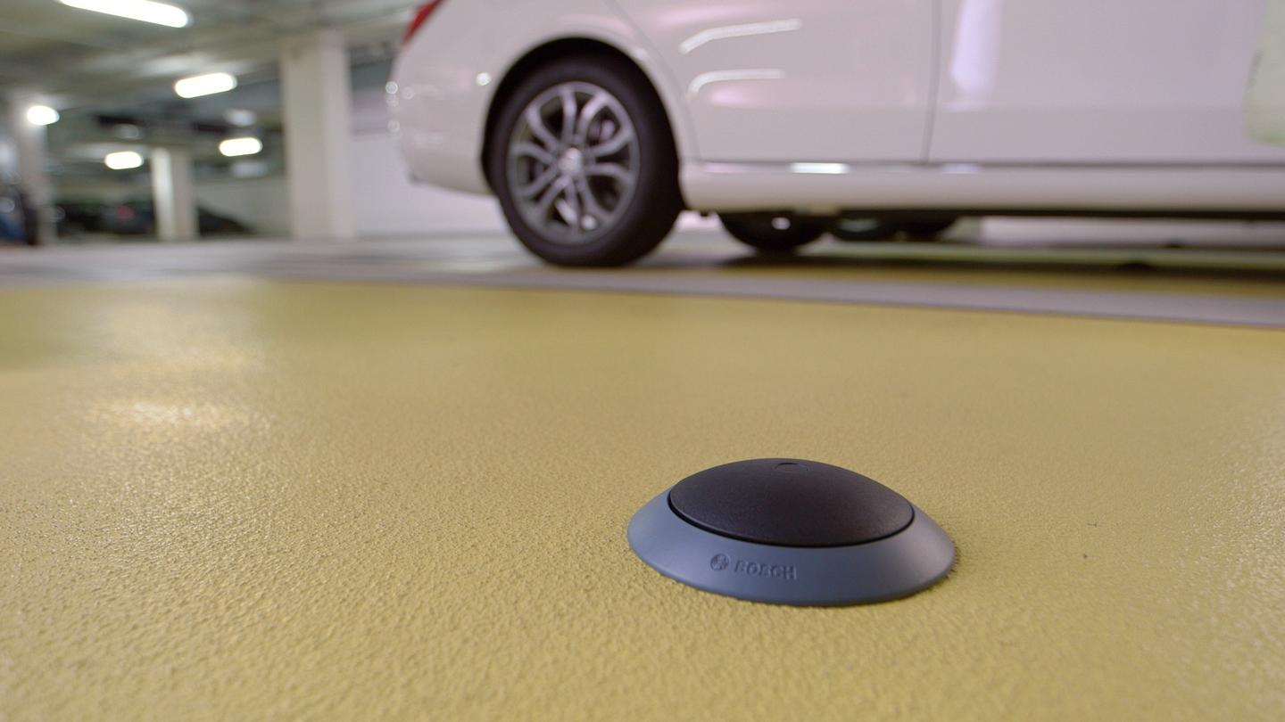 Sensors are installed either on or in the ground of each parking space to detect whether or not the space is occupied