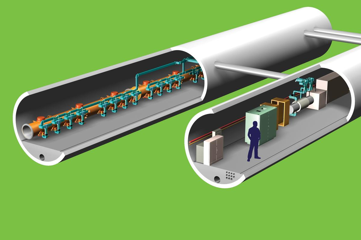 Artist's impression of the ILC tunnels (Graphic: Fermilab/Sandbox Studio)