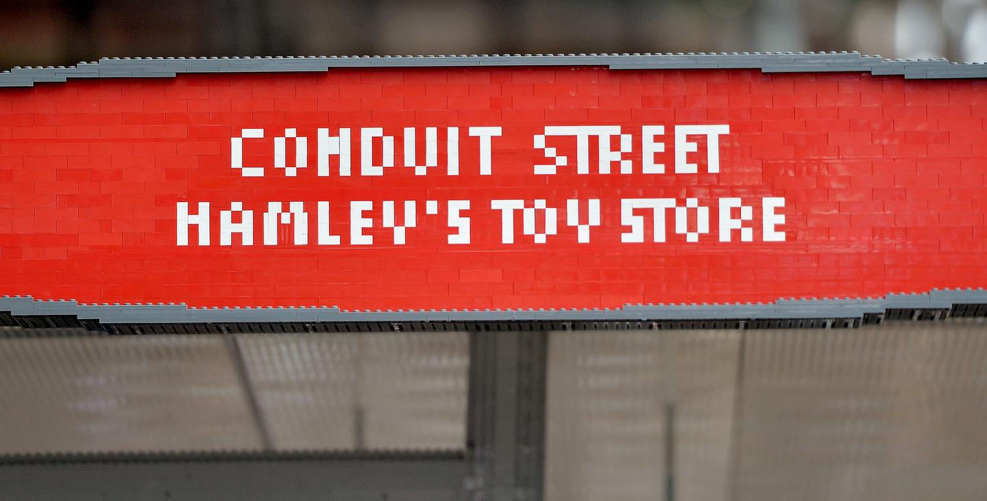 The Lego bus stop has been installed in the vicinity of Hamleys toy shop (Photo: TfL)