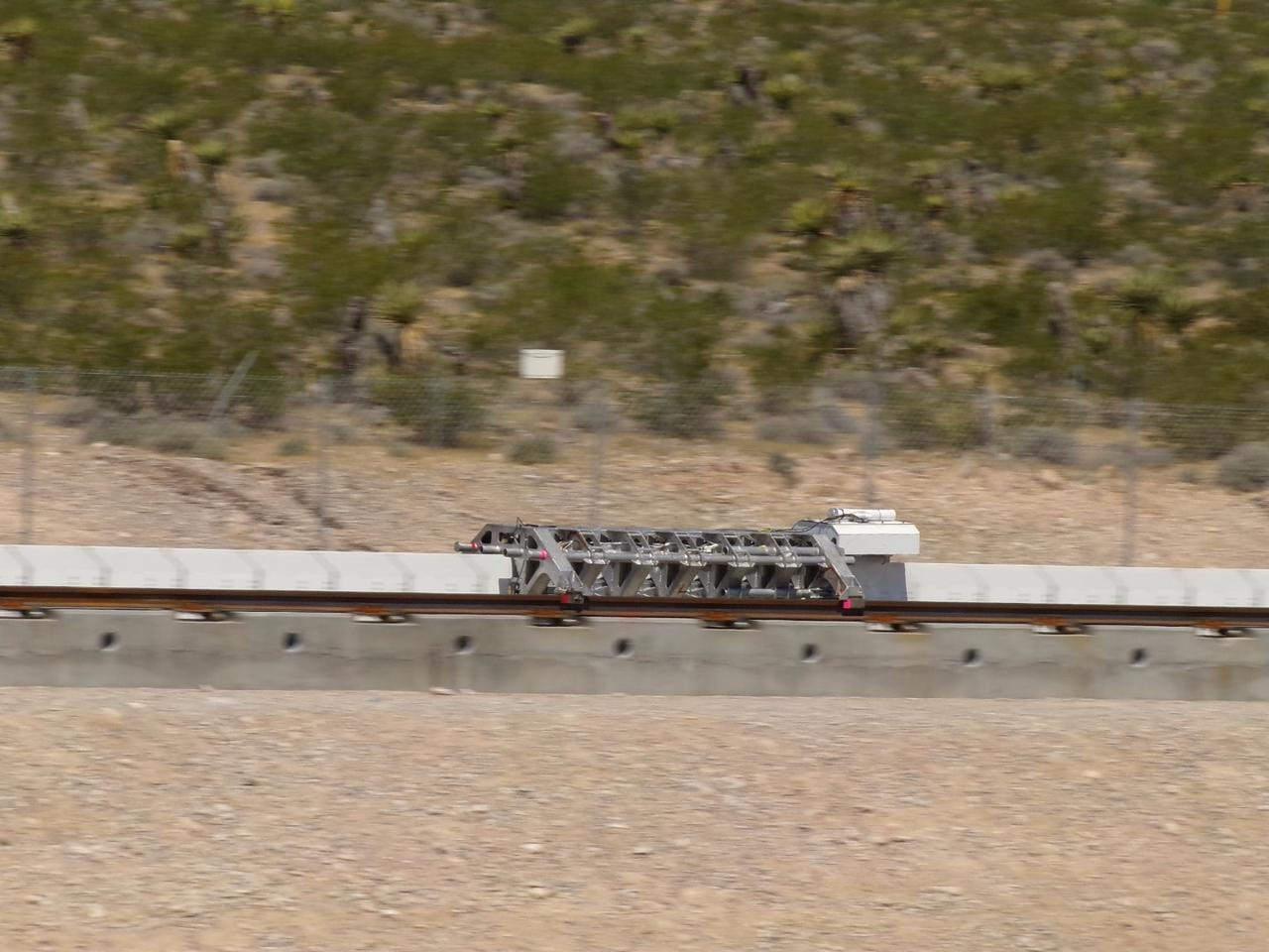 Hyperloop One's electromagnetic propulsion system doing a demonstration run in May 2016
