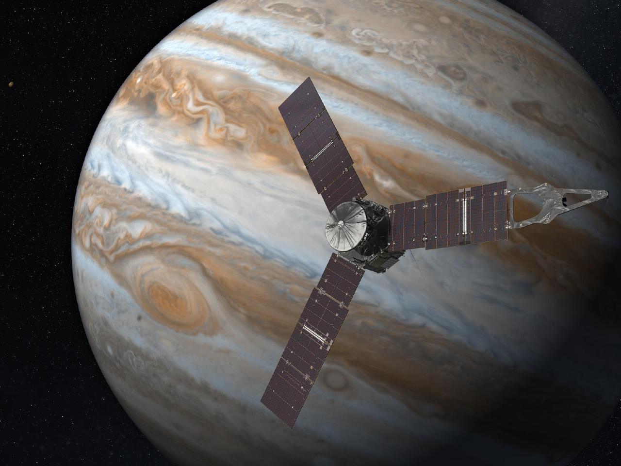 Artist's rendering of Juno orbiting Jupiter