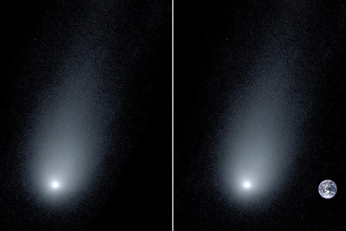 The new image of interstellar comet 2l/Borisov (left) accompanied by a composite image showing the Earth for scale (right)