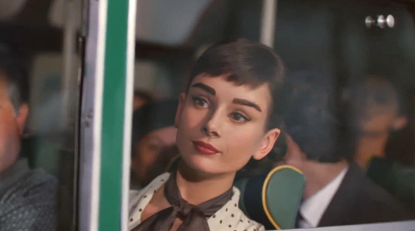 A computer generated Audrey Hepburn appearing in a Galaxy chocolate commercial