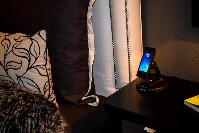 The Revocharge mount being used bedside
