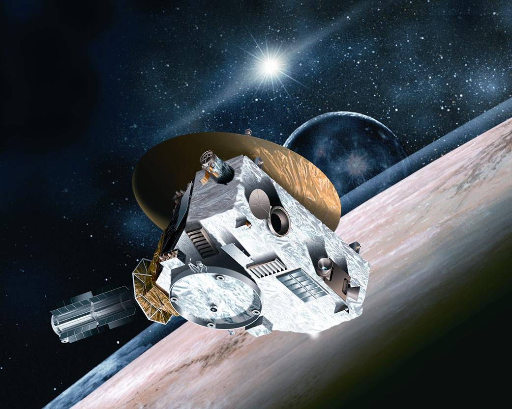Artist's concept of New Horizons flying by Pluto