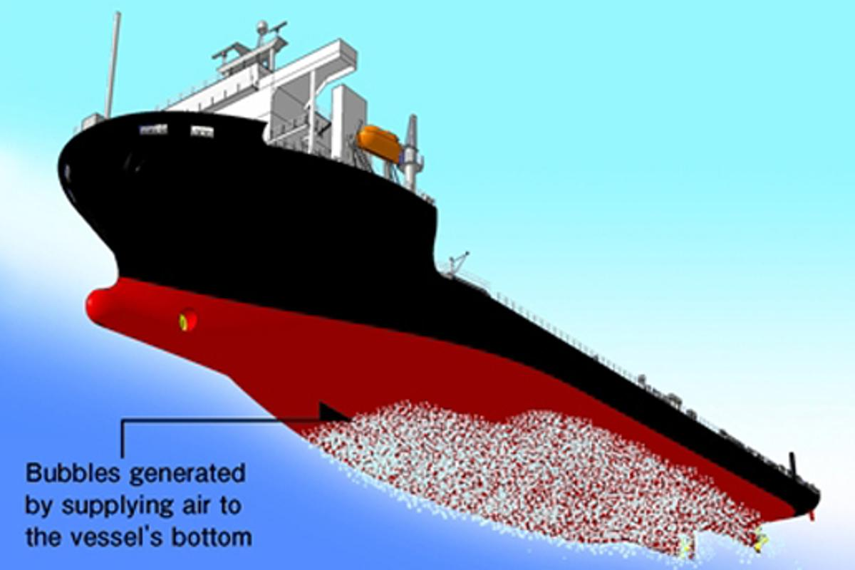 The Mitsubishi Air Lubrication System (MALS) pumps air bubbles onto the bottom of a ship's hull to reduce friction