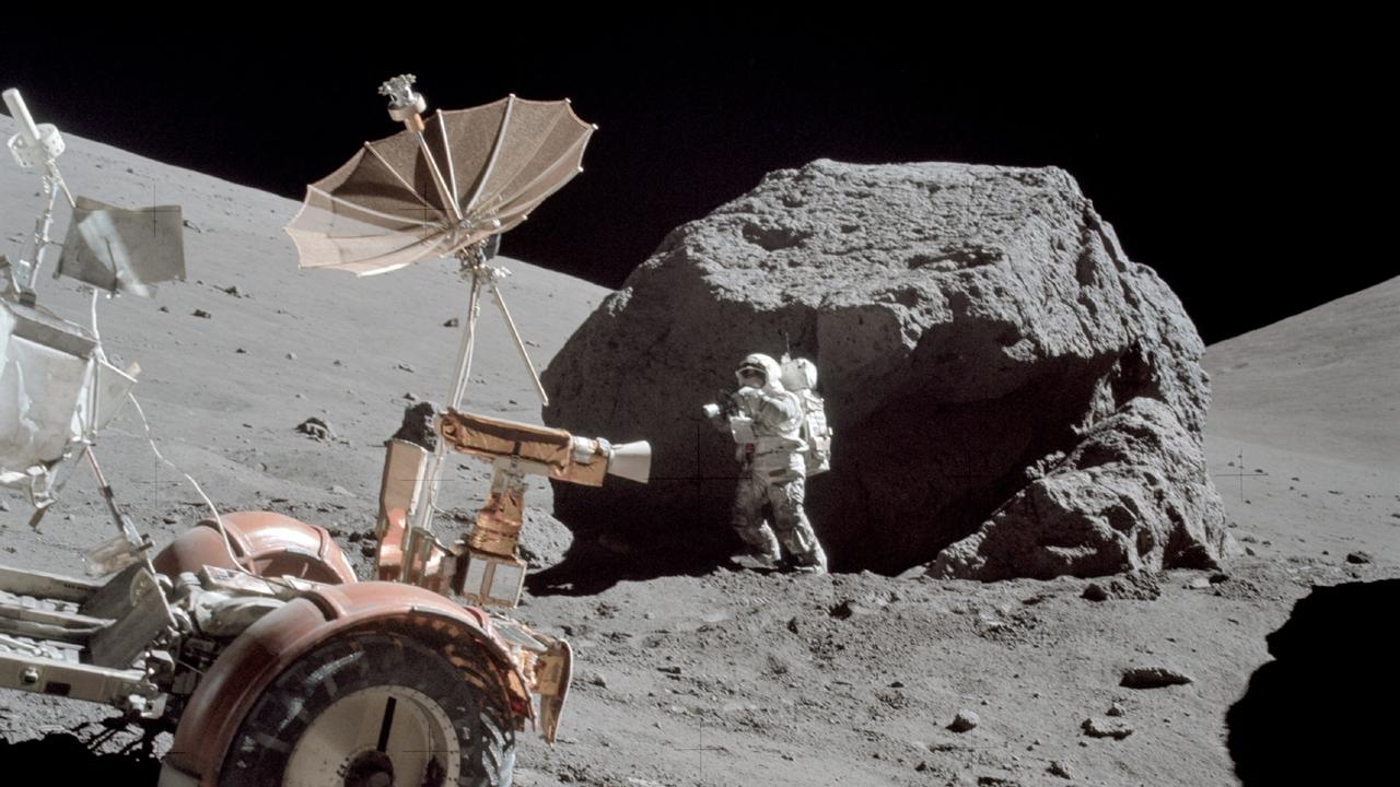 Astronaut Harrison Schmittduring extravehicular activity as part of the Apollo 17 mission