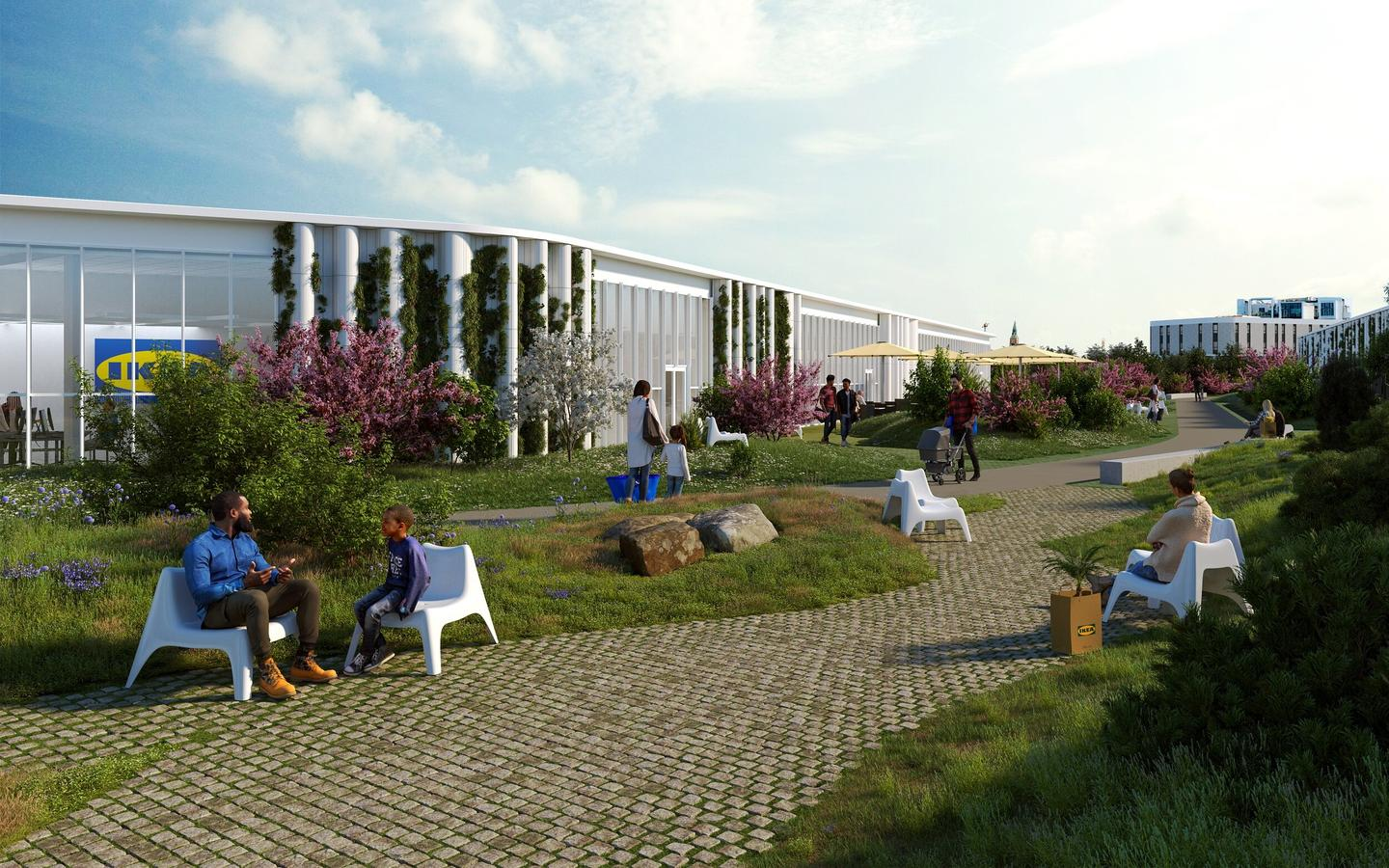 Ikea Copenhagen will feature public areas including a rooftop park and pathways, and is described as a green lounge by designer Dorte Mandrup