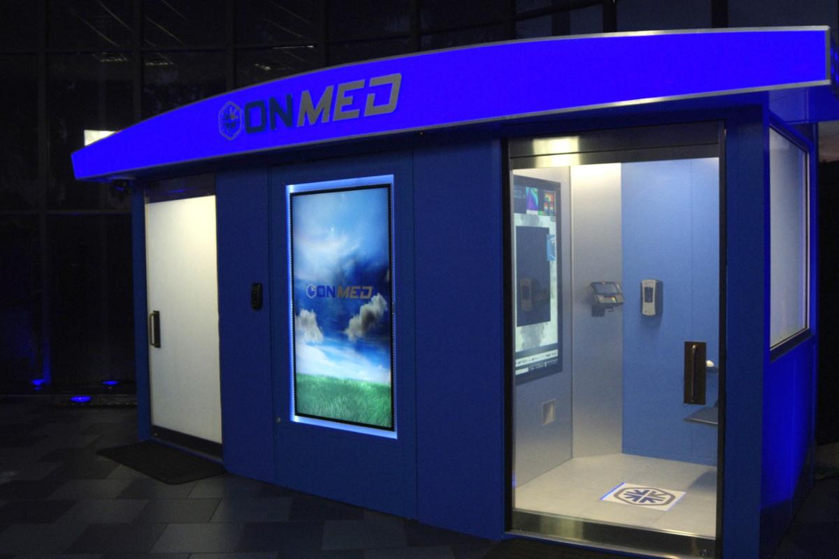 The OnMed Station is a new remote doctor's office kitted out with cameras and sensors to help doctors diagnose patients