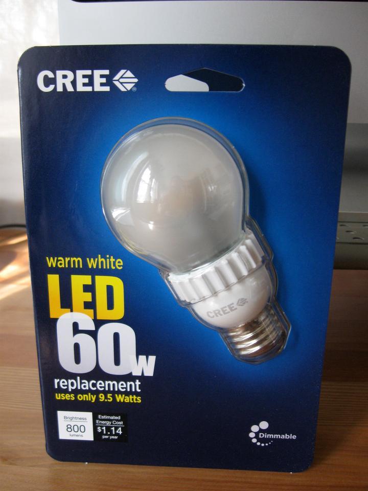 The Cree LED 60-watt-equivalent warm white bulb