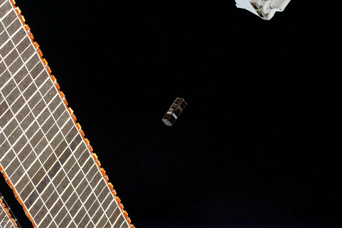 The SpooQy-1 CubeSat being released into orbit from the ISS in June 2019