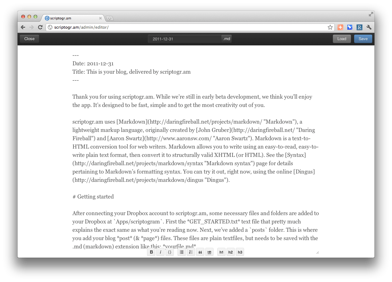 scriptogr.am's built-in text editor will hopefully prove its least-used feature