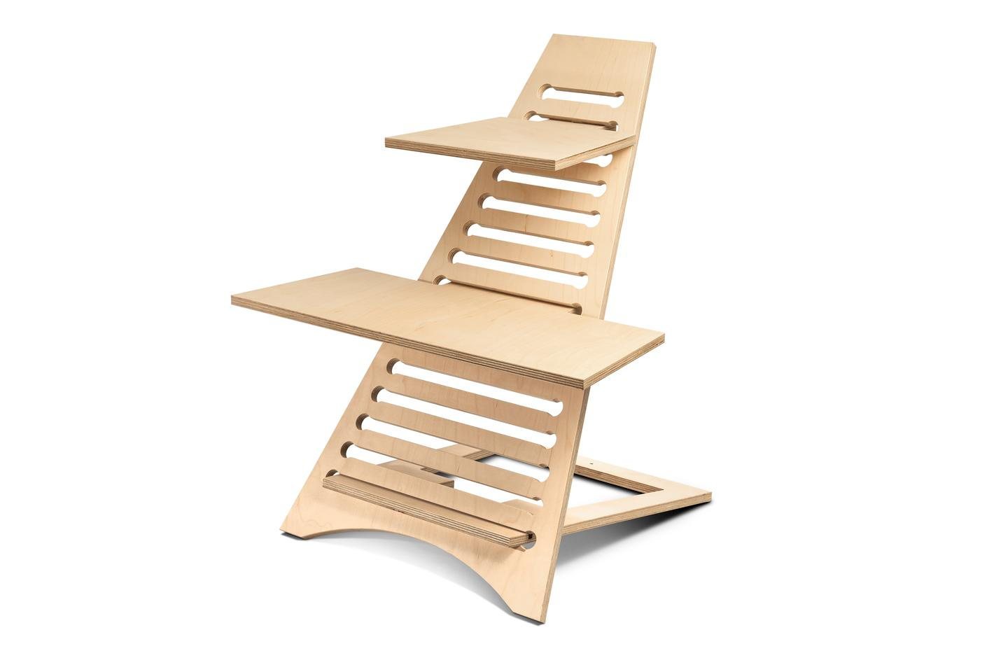 The stand slopes on an angle away from the user and slots naturally into the base creating a sturdy, stable structure for weight bearing items such as laptops, keyboards, and a mouse