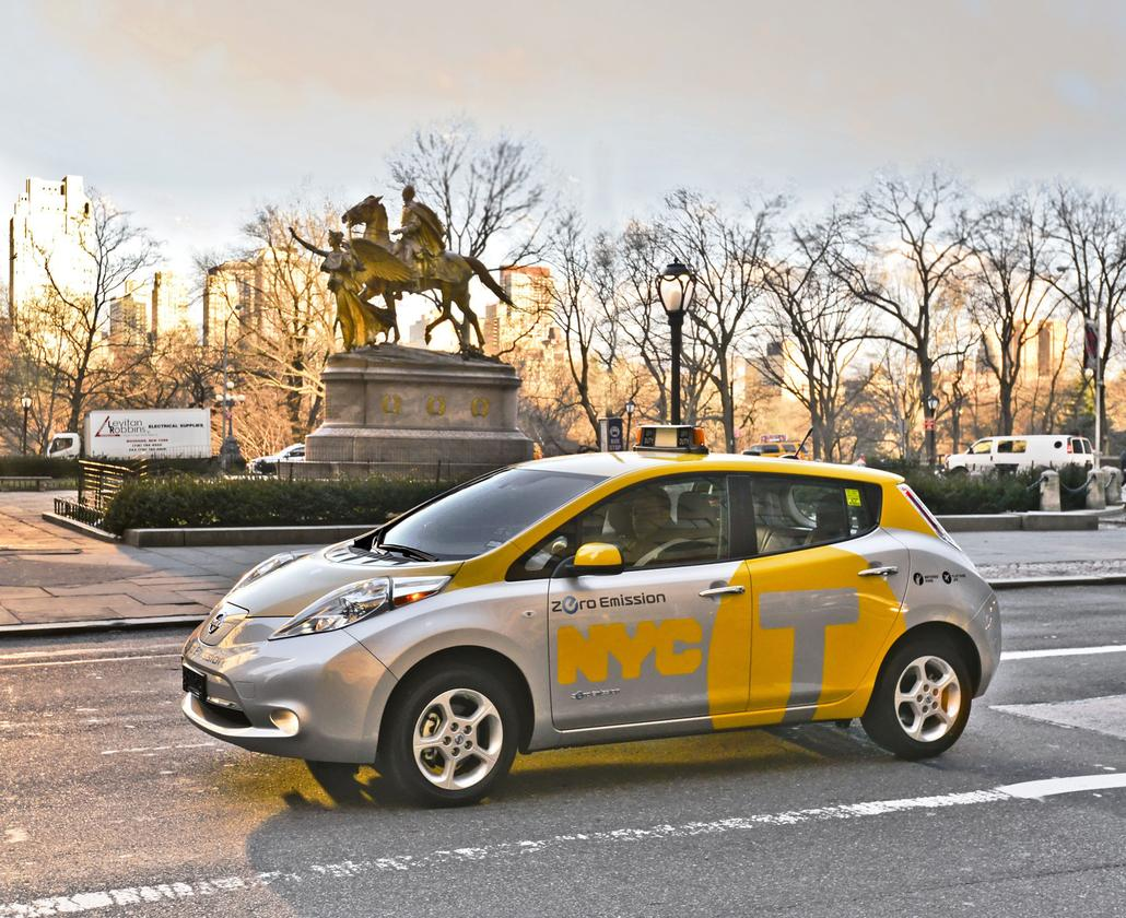 One of six new Nissan LEAF taxis that will be serving New York City